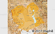 Political Shades Map of Oruro, satellite outside