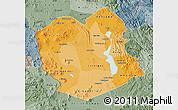 Political Shades Map of Oruro, semi-desaturated