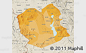 Political Shades Map of Oruro, shaded relief outside