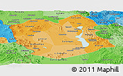 Political Shades Panoramic Map of Oruro