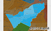 Political Shades Map of Pando, darken