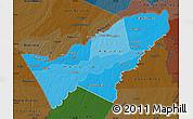 Political Shades Map of Pando, darken