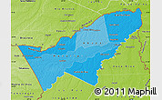 Political Shades Map of Pando, physical outside