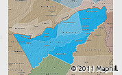 Political Shades Map of Pando, semi-desaturated