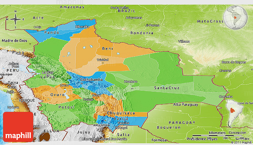 Political Panoramic Map of Bolivia physical outside