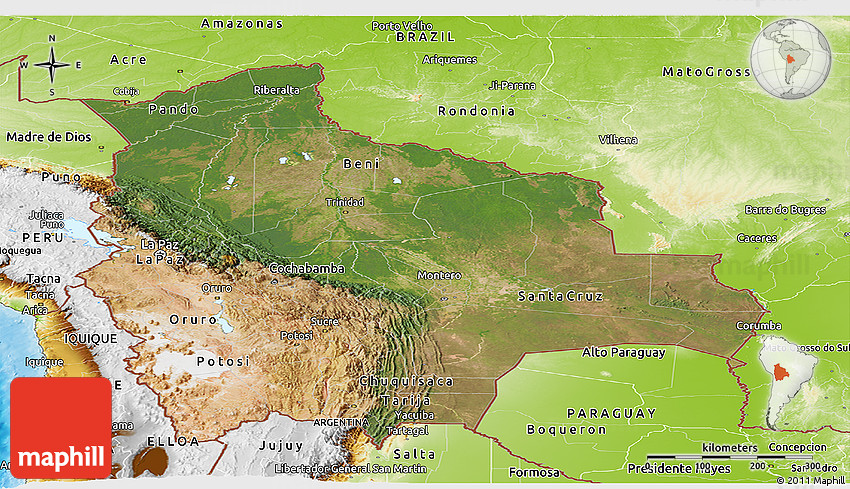 topographic map of bolivia Satellite Panoramic Map Of Bolivia Physical Outside