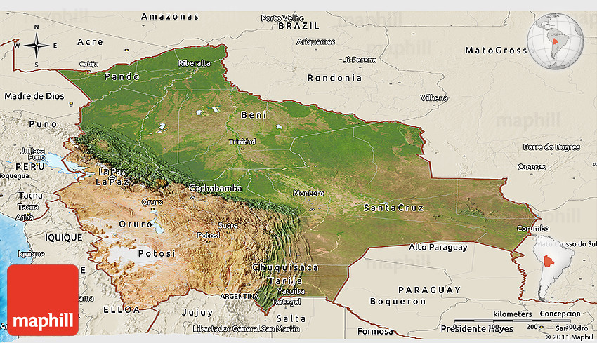 Satellite Panoramic Map of Bolivia, shaded relief outside