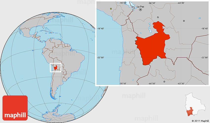 Gray Location Map Of Potosi