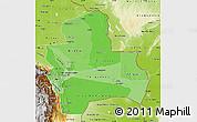 Political Shades Map of Santa Cruz, physical outside