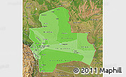 Political Shades Map of Santa Cruz, satellite outside