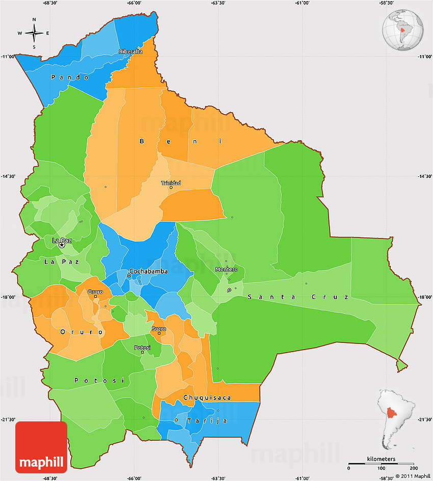 Political Simple Map Of Bolivia Cropped Outside