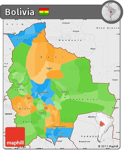 Free Political Simple Map of Bolivia single color outside