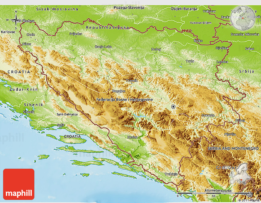 Physical D Map Of Bosnia And Herzegovina - Bosnia and herzegovina map