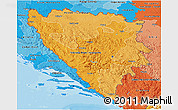 Political Shades 3D Map of Bosnia and Herzegovina