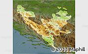 Physical 3D Map of Federacija Bosne i Hercegovine, darken