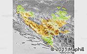 Physical 3D Map of Federacija Bosne i Hercegovine, desaturated