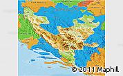 Physical 3D Map of Federacija Bosne i Hercegovine, political outside