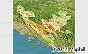 Physical 3D Map of Federacija Bosne i Hercegovine, satellite outside