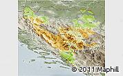 Physical 3D Map of Federacija Bosne i Hercegovine, semi-desaturated