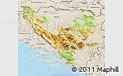 Physical 3D Map of Federacija Bosne i Hercegovine, shaded relief outside