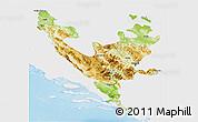 Physical 3D Map of Federacija Bosne i Hercegovine, single color outside