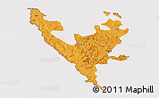 Political 3D Map of Federacija Bosne i Hercegovine, cropped outside