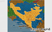 Political 3D Map of Federacija Bosne i Hercegovine, darken