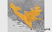 Political 3D Map of Federacija Bosne i Hercegovine, desaturated