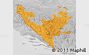 Political 3D Map of Federacija Bosne i Hercegovine, lighten, desaturated
