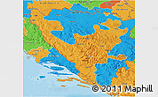 Political 3D Map of Federacija Bosne i Hercegovine