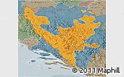 Political 3D Map of Federacija Bosne i Hercegovine, semi-desaturated