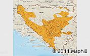 Political 3D Map of Federacija Bosne i Hercegovine, shaded relief outside