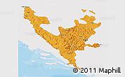 Political 3D Map of Federacija Bosne i Hercegovine, single color outside