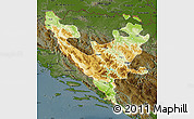 Physical Map of Federacija Bosne i Hercegovine, darken