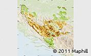 Physical Map of Federacija Bosne i Hercegovine, lighten
