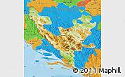 Physical Map of Federacija Bosne i Hercegovine, political outside