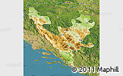 Physical Map of Federacija Bosne i Hercegovine, satellite outside