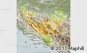 Physical Map of Federacija Bosne i Hercegovine, semi-desaturated