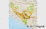 Physical Map of Federacija Bosne i Hercegovine, shaded relief outside