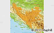 Political Map of Federacija Bosne i Hercegovine, physical outside