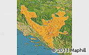 Political Map of Federacija Bosne i Hercegovine, satellite outside