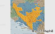 Political Map of Federacija Bosne i Hercegovine, semi-desaturated