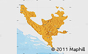 Political Map of Federacija Bosne i Hercegovine, single color outside