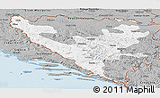 Gray Panoramic Map of Federacija Bosne i Hercegovine