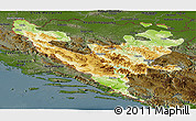 Physical Panoramic Map of Federacija Bosne i Hercegovine, darken