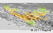 Physical Panoramic Map of Federacija Bosne i Hercegovine, desaturated