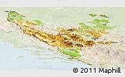 Physical Panoramic Map of Federacija Bosne i Hercegovine, lighten