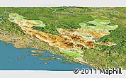 Physical Panoramic Map of Federacija Bosne i Hercegovine, satellite outside
