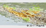 Physical Panoramic Map of Federacija Bosne i Hercegovine, semi-desaturated