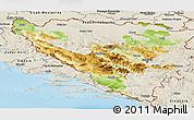 Physical Panoramic Map of Federacija Bosne i Hercegovine, shaded relief outside